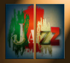 2 piece colorful jazz music canvas art prints