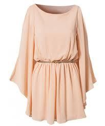 Womens Light Pink Dress Light Pink Bat Sleeve Unque Design Women Fashion Long Sleeve