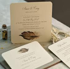 boho u0027 feather wedding invitations by beautiful day