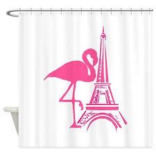 Flamingo Shower Curtains Paris Eiffel Tower Pink Flamingo Shower Curtain By Flipflopfantasy