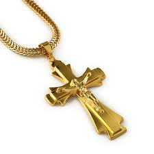 mens christian jewelry hip hop rapper jesus cross pendants necklace men yellow