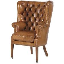 brown wing chair feturing brown leather wingback dining chair