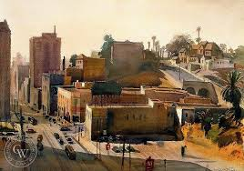 the watercolor above is hill los angeles 1940 by emil
