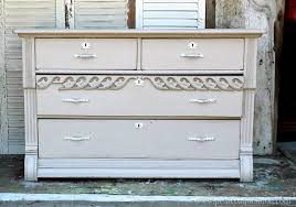 pretty paint finish for an antique dresser before and after