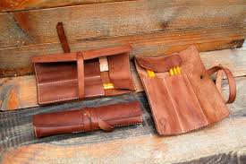 personalized leather pencil case wrap tool bag roll pencil