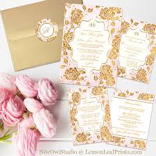 pink and gold wedding invitations vintage blush pink and gold floral monogram wedding