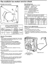 modual ice maker diagnostic sheet