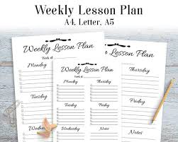 printable homeschool lesson plan template weekly lesson plan printable teacher planner lesson plan