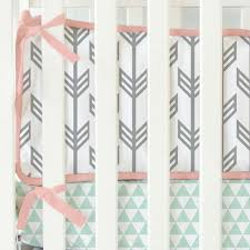 Crib Bedding Separates Mint Coral Arrow Crib Bumper By Caden Rosenberryrooms