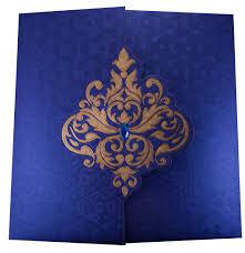 Elegant Invitation Cards Wedding Invite In Royal Blue With Golden Patterns