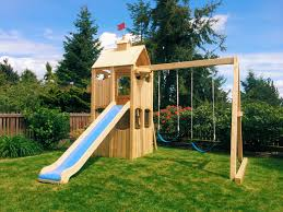Backyard Play Structure by Custom Playsets Even For Sloping Yards By Kids Korner Playsets