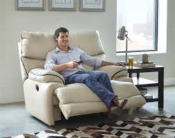 larkin lay flat recliner in buff or coffee color upholstery by
