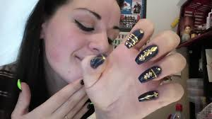 jazzy time navy blue and gold nail art tutorial youtube