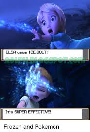 Elsa Frozen Meme - elsa uses ice bolt it s super effective frozen and pokemon elsa