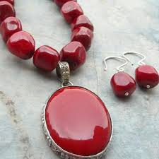 coral necklace red images Buy red coral necklace earring set oval large silver set online jpg