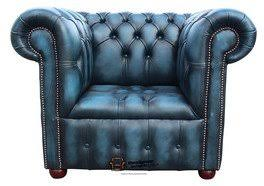 Low Back Armchair Chesterfield Buttoned Seat Low Back Club Armchair Antique Blue