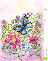 butterfly flowers butterfly in flowers stock illustration illustration of beauty