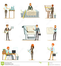 Architectural Blueprints For Sale Architect Profession Set Of Vector Illustrations With Architects