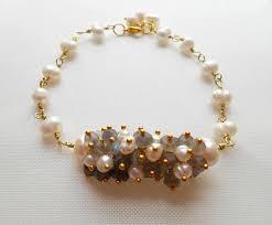 Handcrafted Handmade Semiprecious Gemstone Beaded Lydie Bridal Gemstone Beaded Bracelet Pearl Wedding Jewelry
