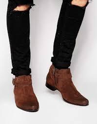 cost effective asos chelsea boots brown suede buckle strap men