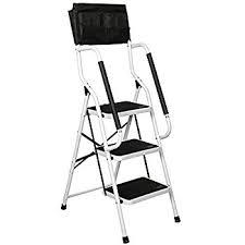 amazon com folding 3 step safety step ladder padded side