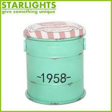 Light Green Stool Decorative Round Printing Tin Bucket Vintage Metal Light Green