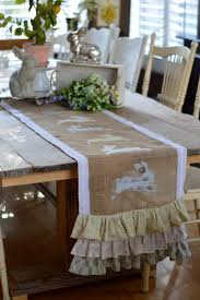 Dining Room Table Runner by Spring Burlap Table Runner With Appliqué Bunnies
