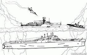 coloring page missile boat