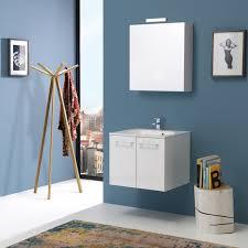 armadietto bagno con specchio mobile bagno 60cm bianco lucido con specchio contenitore kv store