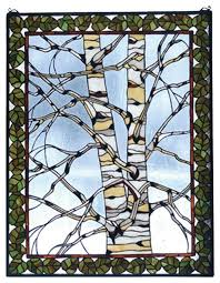 birch tree in winter window panel traditional stained glass