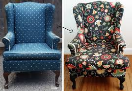 Reupholster Armchair Tutorial How To Reupholster A Wing Back Chair By Confessions Of A Refashionista