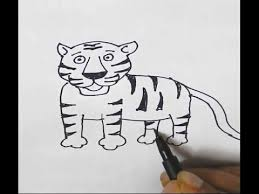 how to draw a tiger in easy steps for children kids beginners
