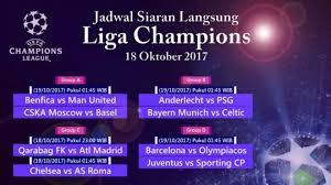 Jadwal Liga Chion Catat Inilah Jadwal Lengkap Matchday Ketiga Liga Chions Eropa