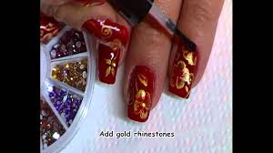 holiday nail art red and gold one stroke youtube