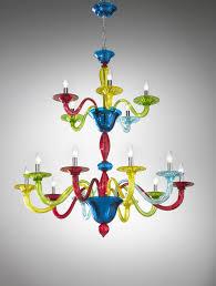 Coloured Chandelier by Murano Coloured Glass Chandelier Art 1191 Vetrilamp Murano
