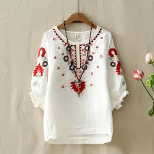 embroidered blouses ethnic vintage white floral embroidered blouses for