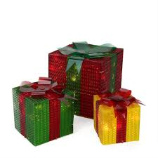 3 glistening prismatic gift box lighted yard