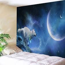 wall hanging wolf moonlight print tapestry night blue w inch l wall hanging wolf moonlight print tapestry night blue w51 inch l59 inch