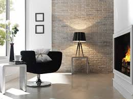 wandgestaltung wohnzimmer ideen ideen für wandgestaltung wohnzimmer ziegelwand kamin schwarzer
