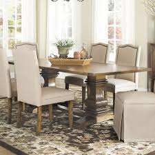 dining table with shaped double pedestals