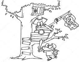 cartoon pirate kids in tree house u2014 stock vector ronleishman