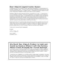 pdf manual for klipsch speaker legend series klf 20