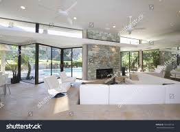 sunken seating area exposed stone fireplace stock photo 150192152
