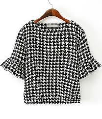 houndstooth blouse black white half sleeve houndstooth blouse