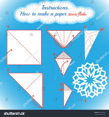 instructions how make paper snowflake tutorial stock vector