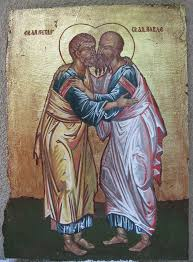 Painting Icon Saatchi Art Icon Of St Peter And Paul Painting By Marija Djuric