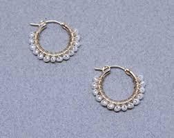 pearl hoop earrings pearl hoop earrings etsy