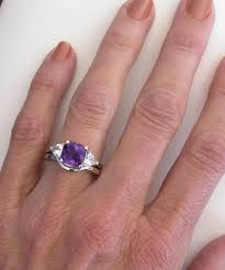 Amethyst Wedding Rings by Cushion Cut Amethyst Engagement Ring With Trillion White Sapphires