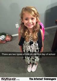 Funny Kid Meme - two types of kids on the first day of school funny meme pmslweb