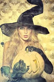halloween witch backgrounds charming halloween witch over vintage background stock photo